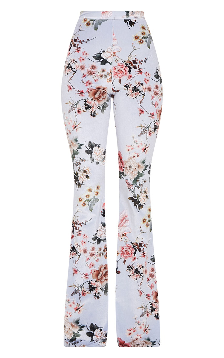 Grey Floral Velvet Flared Pants 3