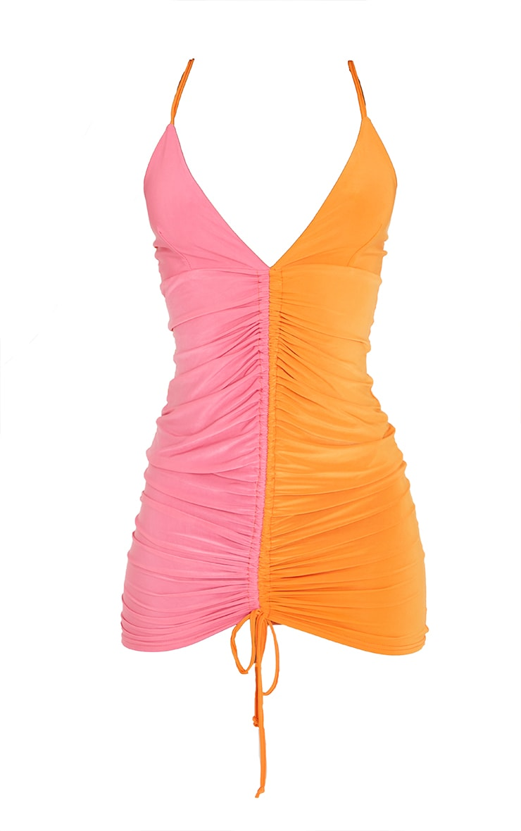 Tall Orange Contrast Slinky Ruched Strappy Mini Dress 5