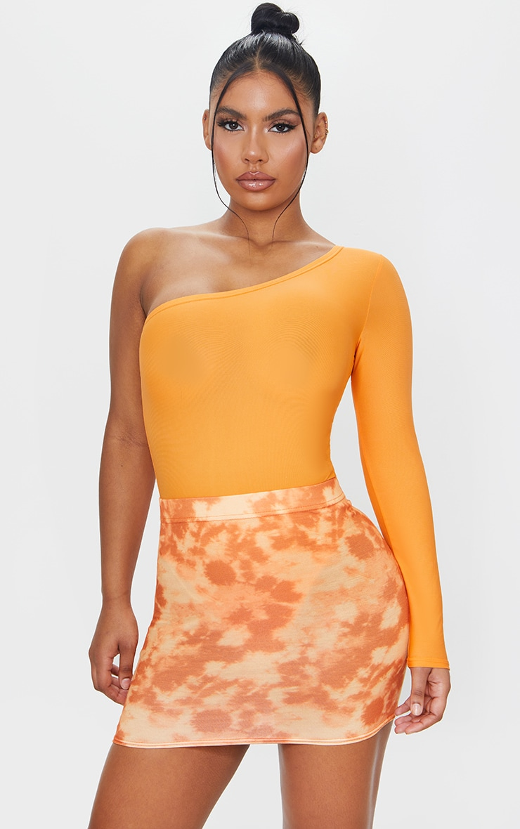 Orange Tie Dye Print Mini Skirt 4