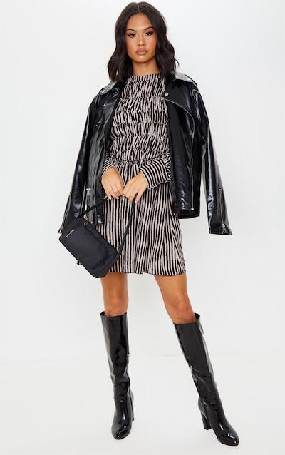 Monochrome Stripe High Neck Shirred Bodice Long Sleeve Smock Dress