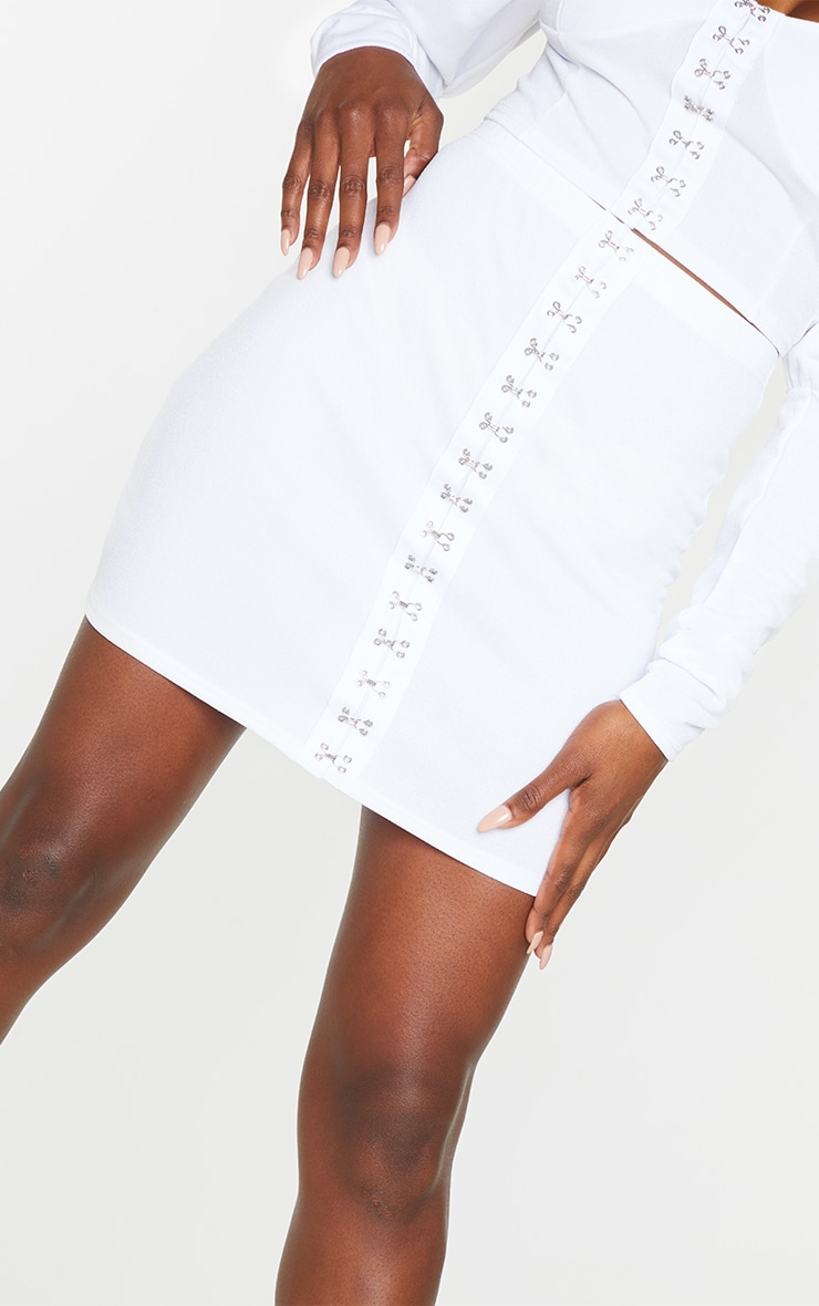White Hook & Eye Mini Skirt 5