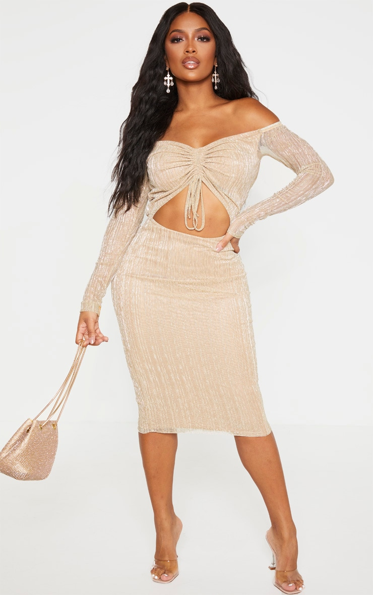 Shape Gold Plisse Bardot Cut Out Midi Dress 1