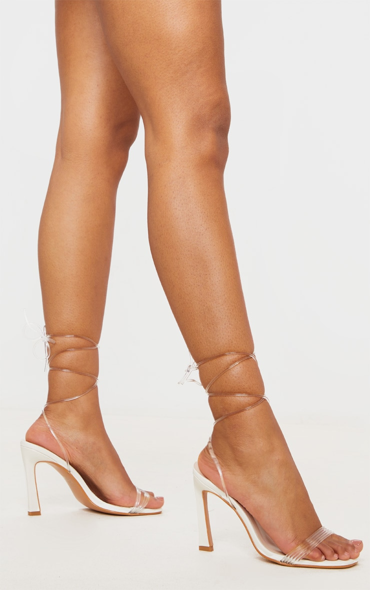 White Multi Strappy Ankle Wrap Flared Heel Sandals