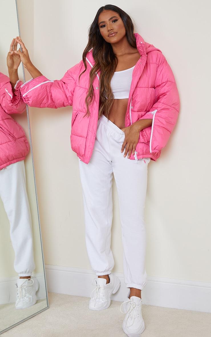 Pink Nylon Oversized Zip Sleeve Puffer Jacket 4