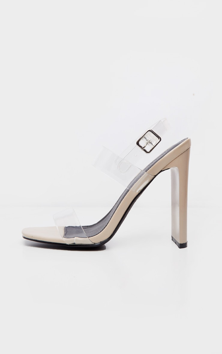 Nude Square Toe Clear Twin Strap Sandal 4