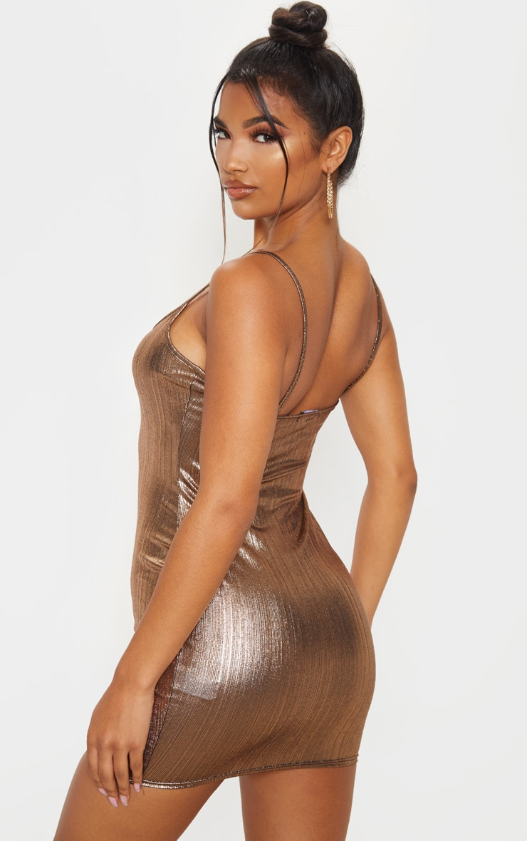 Rose Gold Metallic Strappy Bodycon Dress 2