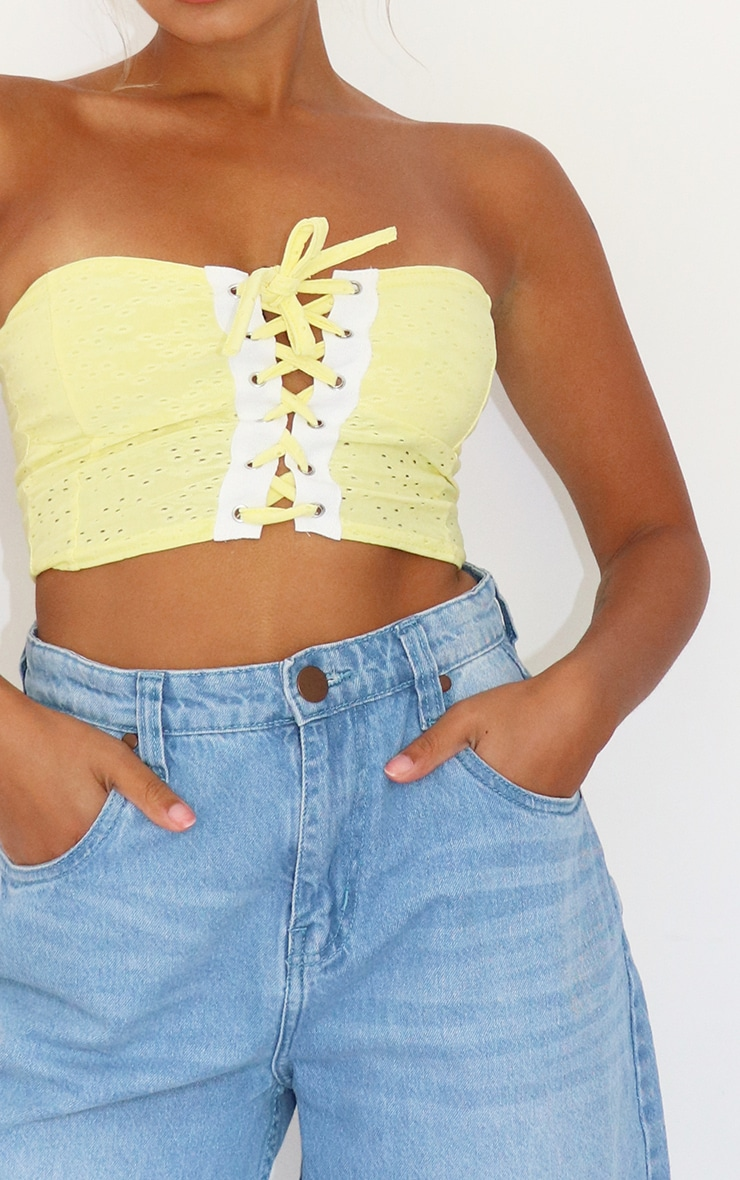 Petite Yellow Broderie Anglaise Lace Up Bandeau Top 4
