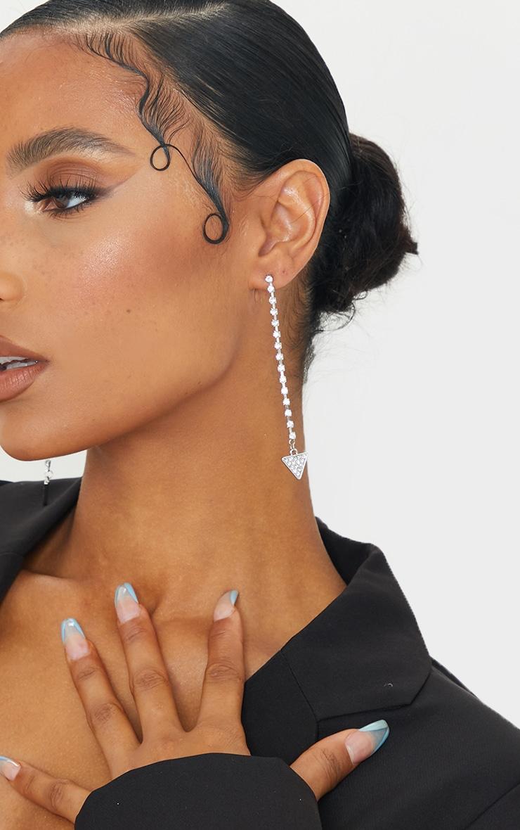 Silver Diamante Drop Triangle Earrings 1