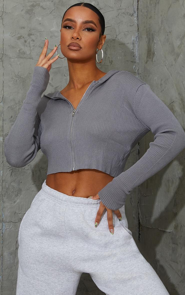 Gilet en maille tricot fine grise à zip 1