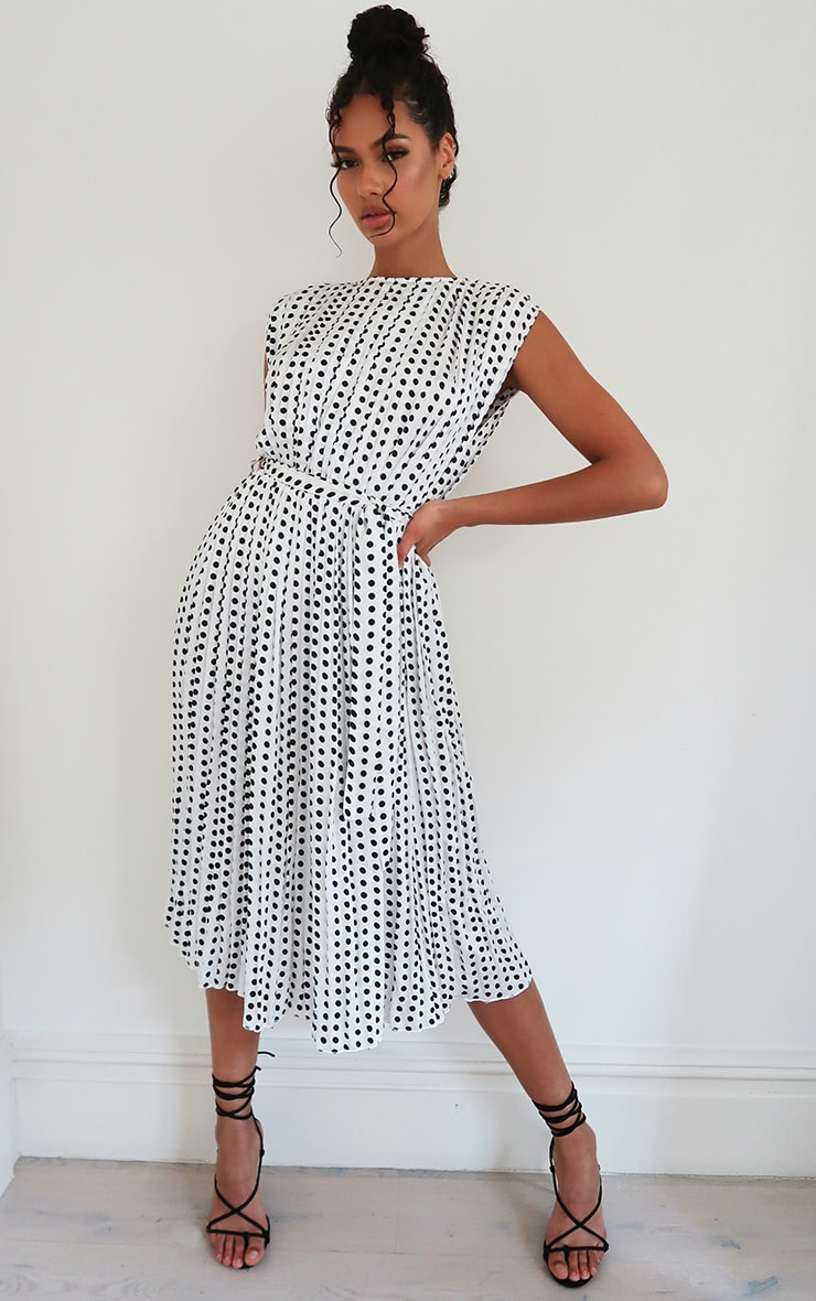 White Polka Dot Pleated Sleeveless Midi Dress 1