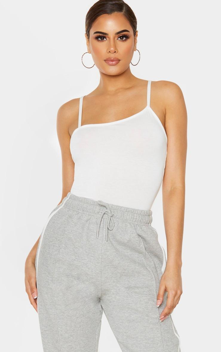 Tall Cream Asymmetric Strappy Bodysuit 5