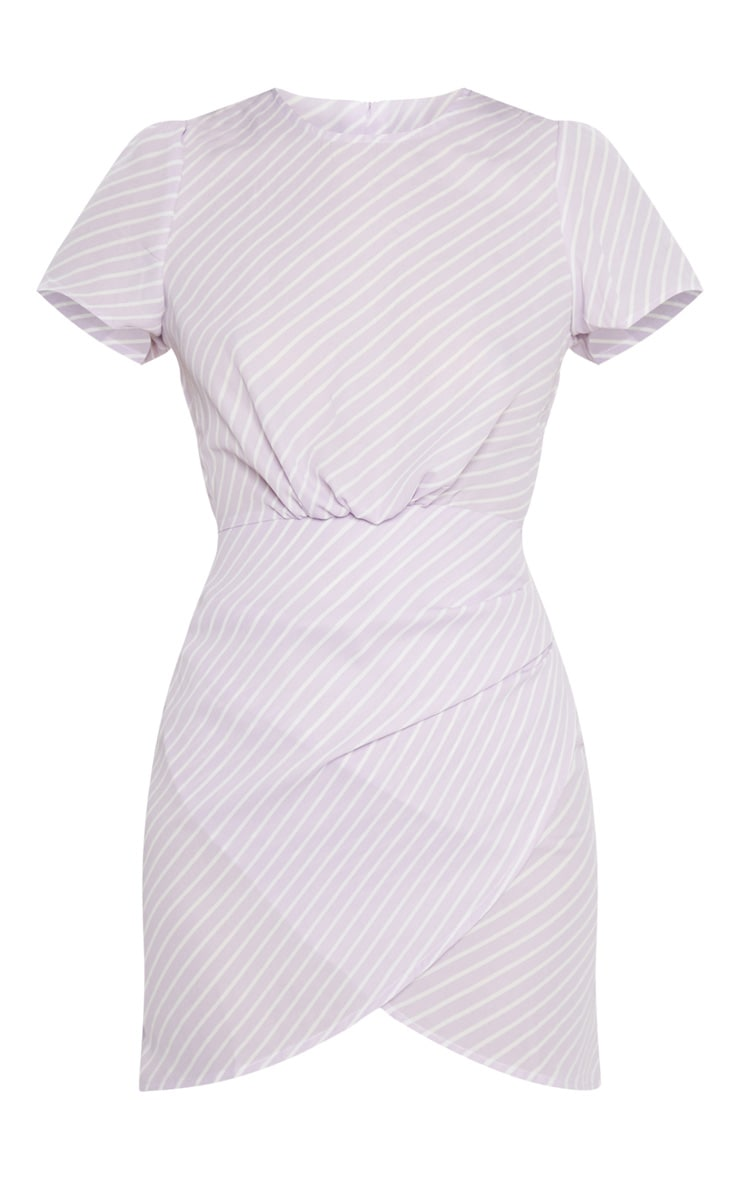 Lilac Stripe Asymmetric Wrap Shift Dress 3