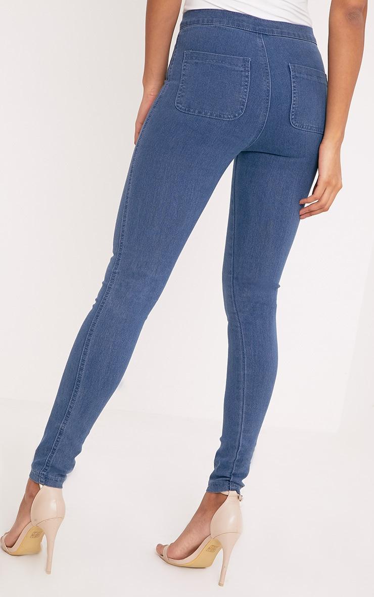 Este jean taille haute 2 poches bleu foncé 4