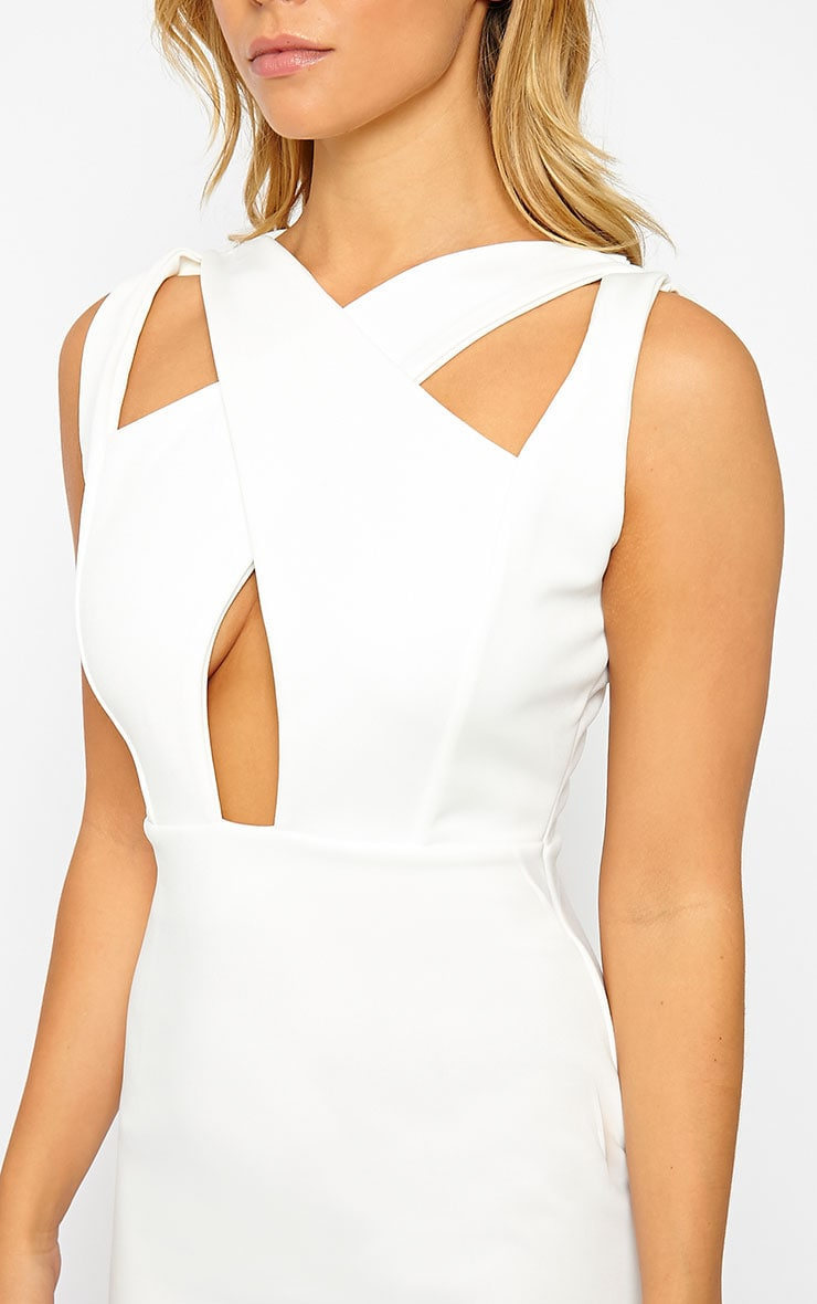 Gracen Cream Cross Front & Back Midi Dress 5