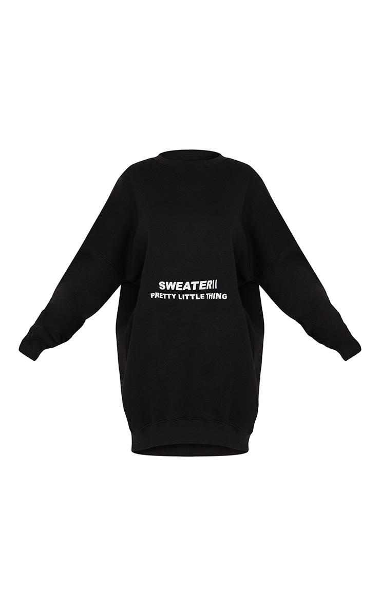 PRETTYLITTLETHING Black Oversized Sweater Jumper Dress 5