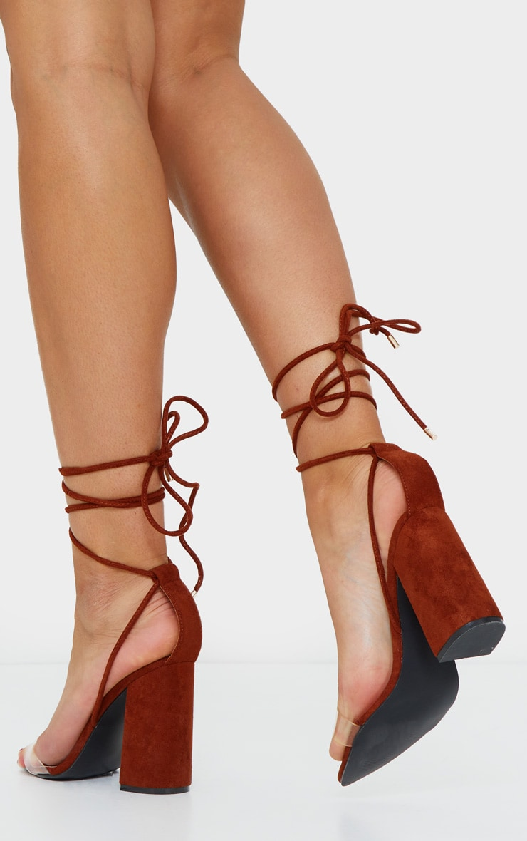 Rust Ankle Lace Up Block Heel Point Toe Sandal 2