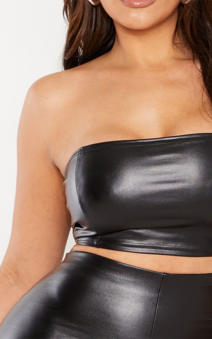 Shape Black PU Seam Detail Bandeau Top 5