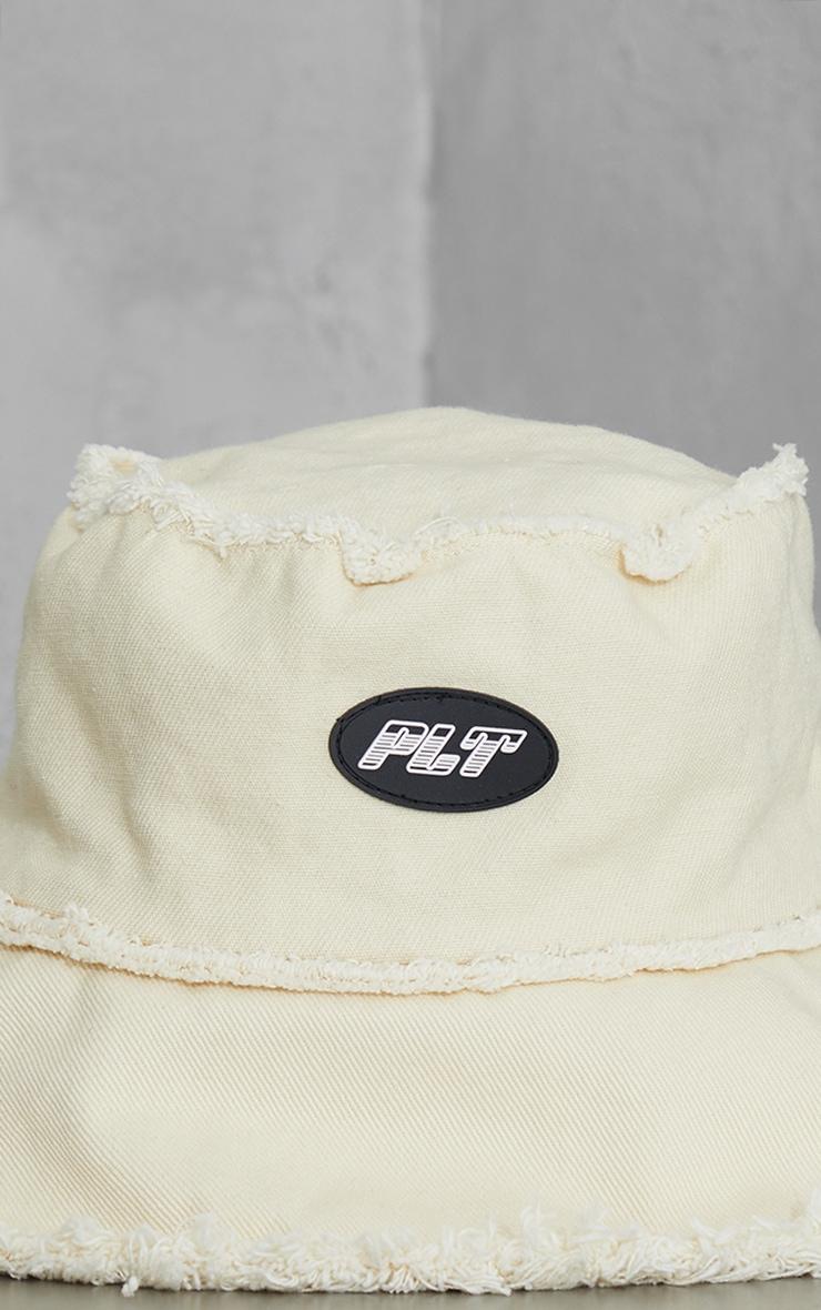 PRETTYLITTLETHING Ecru Mixed Denim Frayed Edge Bucket Hat 3