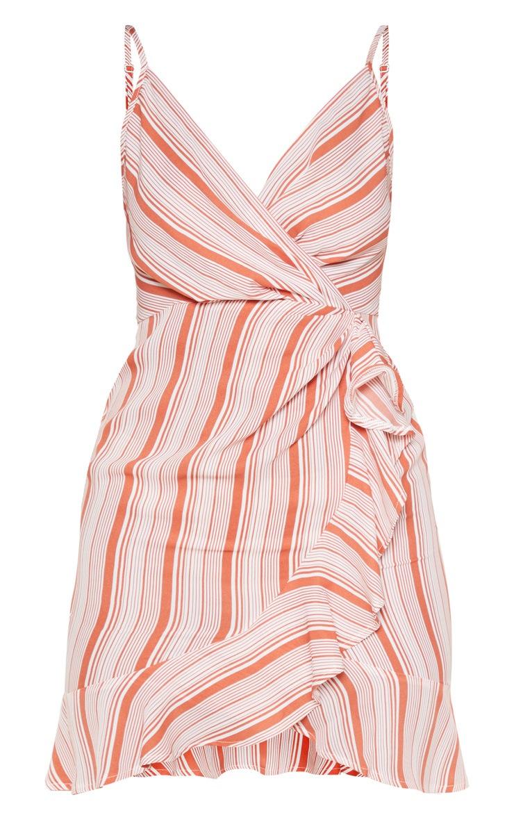 Rust Stripe Ruffle Tea Dress 3