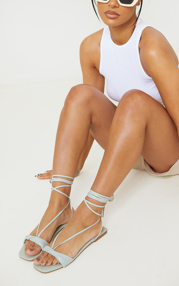 Sage Green PU Folded Square Toe Ankle Tie Sandals 1