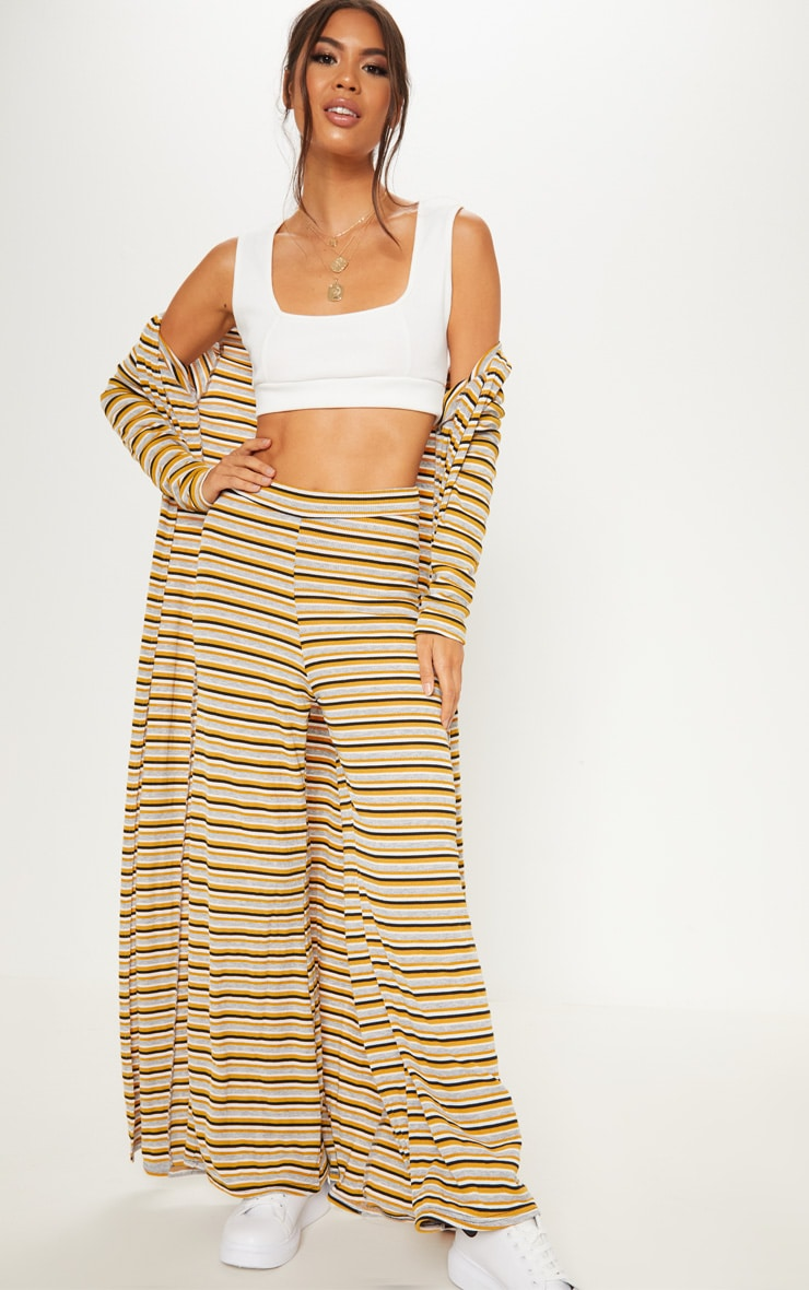 Yellow Ribbed Knitted Wide Leg Trouser