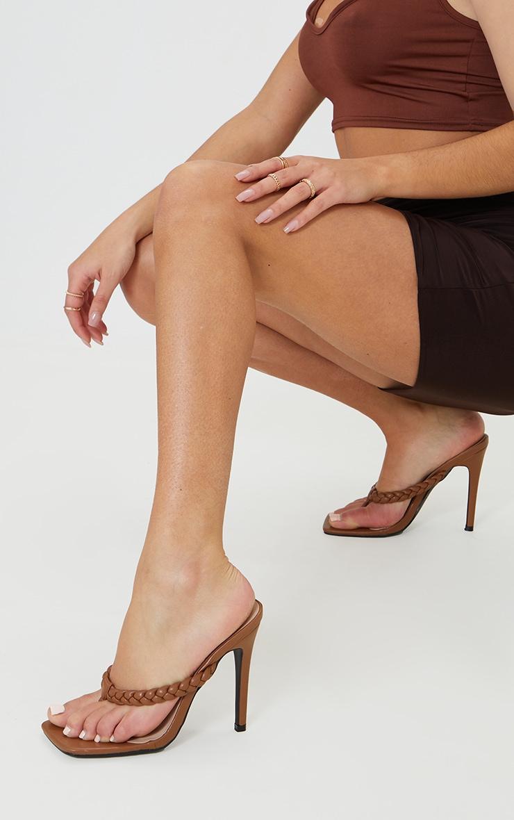 Chocolate Plaited Toe Thong High Heeled Mules 1