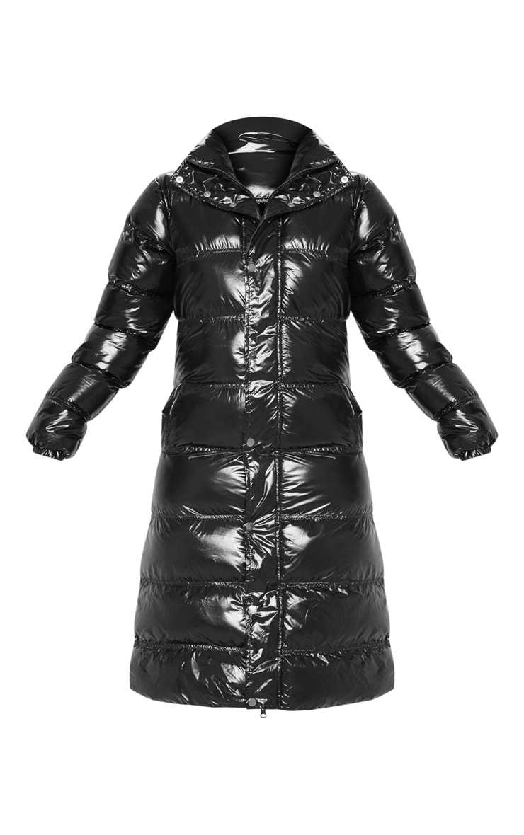Black Maxi High Shine Fitted Puffer 3