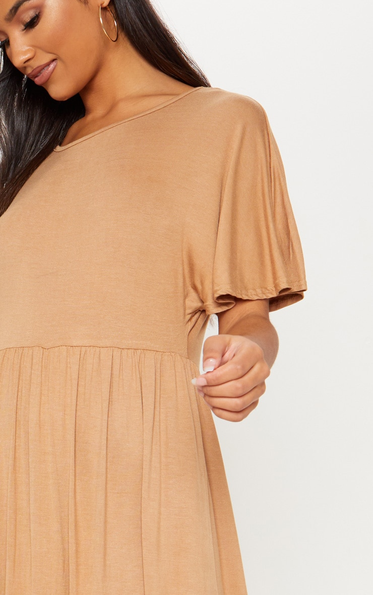 Camel Short Sleeve Midi Smock Dress 5