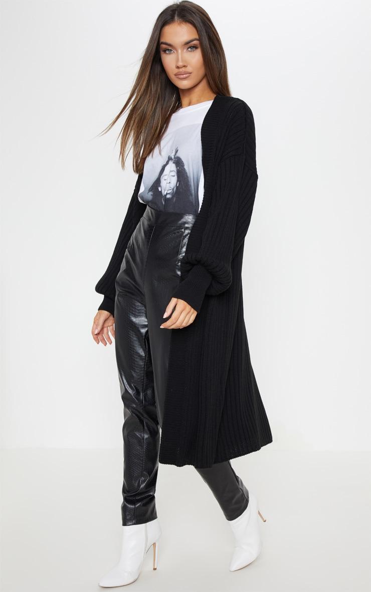 Black Ribbed Knitted Midi Cardigan 1