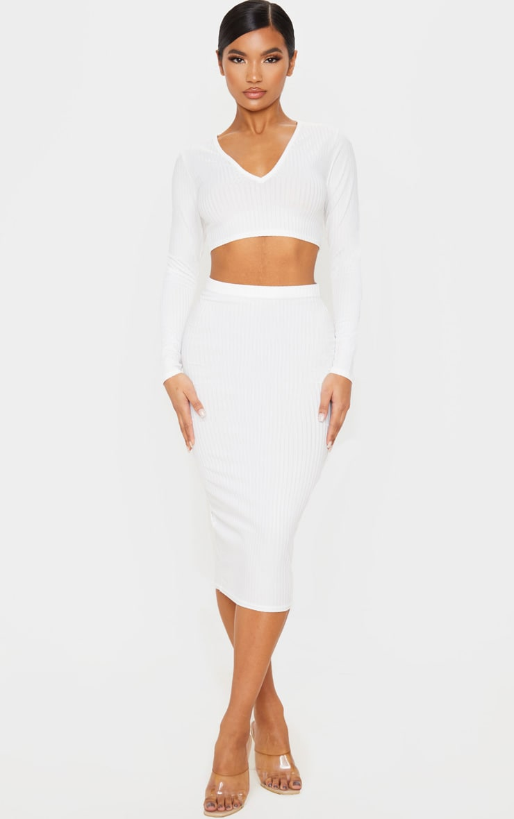 Cream Ribbed V Neck Long Sleeve Crop Top 4