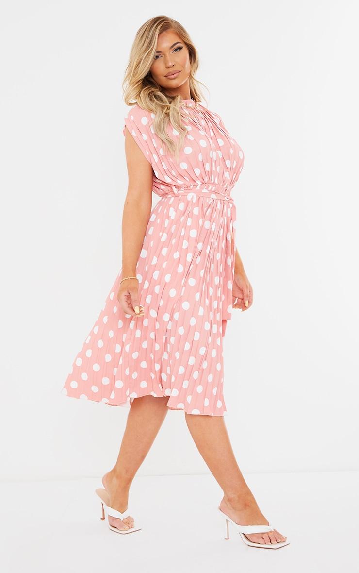 Dusty Pink Polka Dot Pleated Sleeveless Midi Dress 3