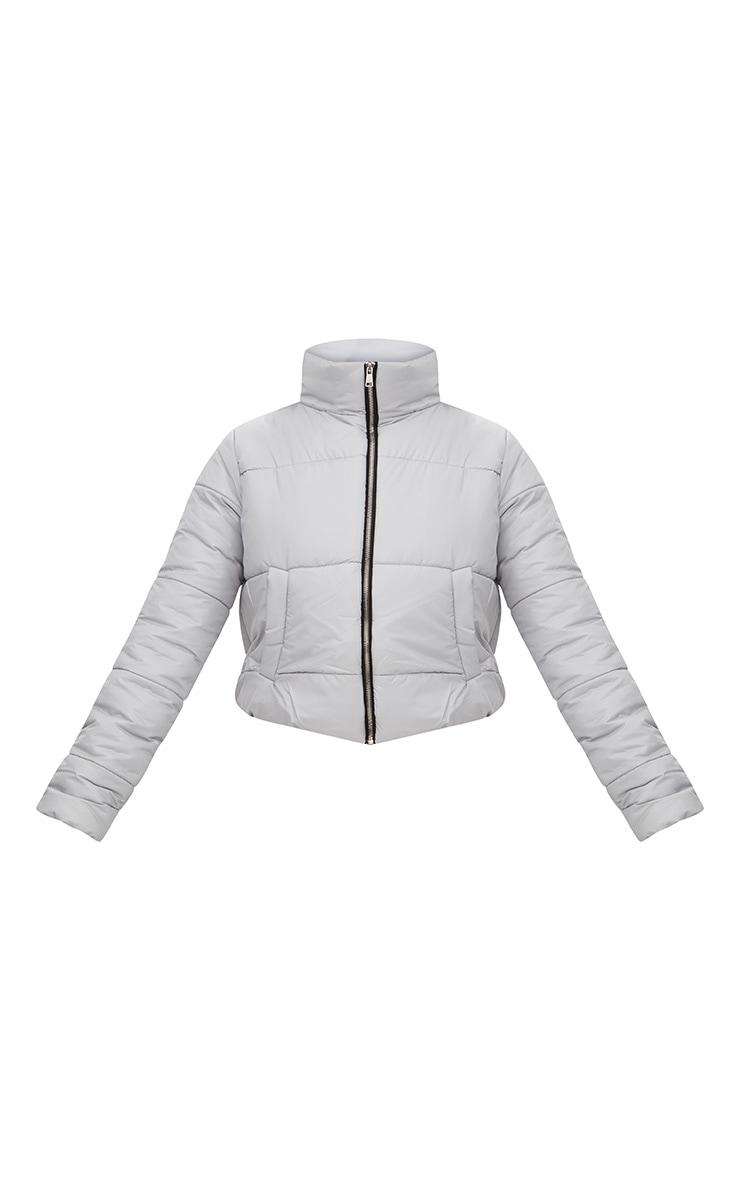 Grey High Shine Cropped Puffer Jacket 3