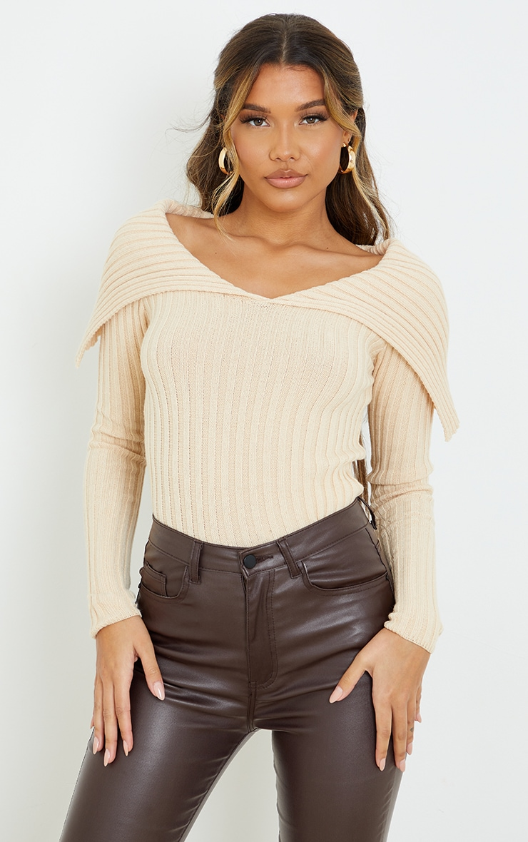 Stone Off Shoulder Collar Detail Ribbed Sweater 1