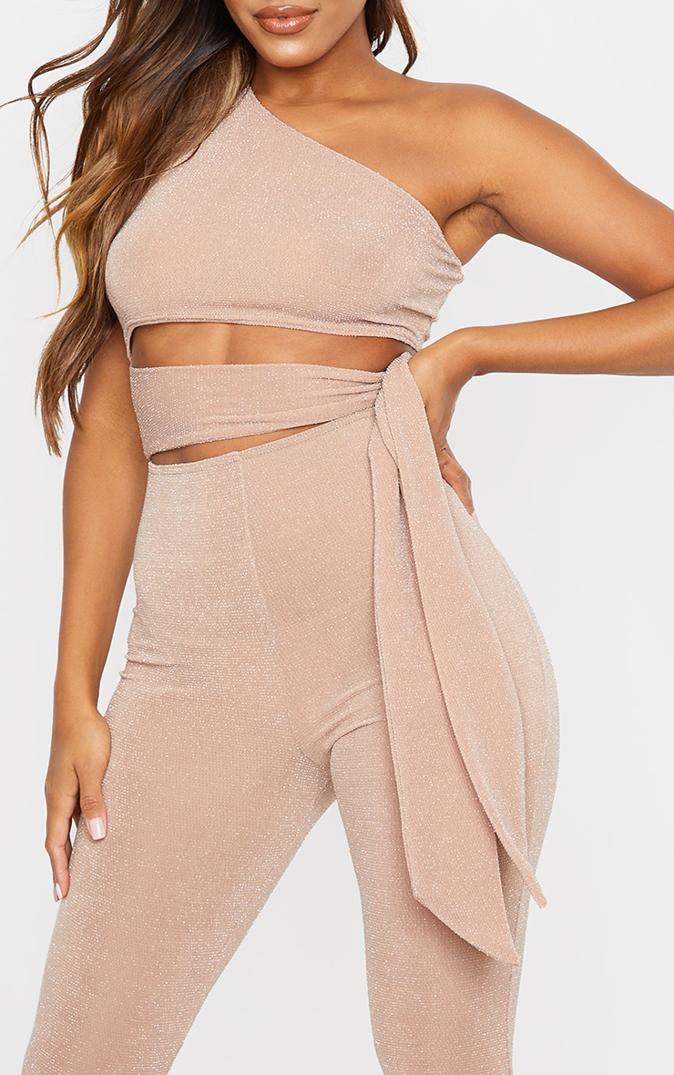 Nude Textured Glitter One Shoulder Cut Out Jumpsuit 4