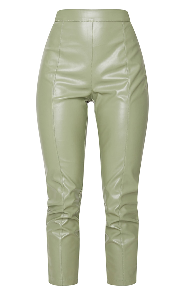 Sage Khaki Faux Leather Cropped Skinny Pants 5