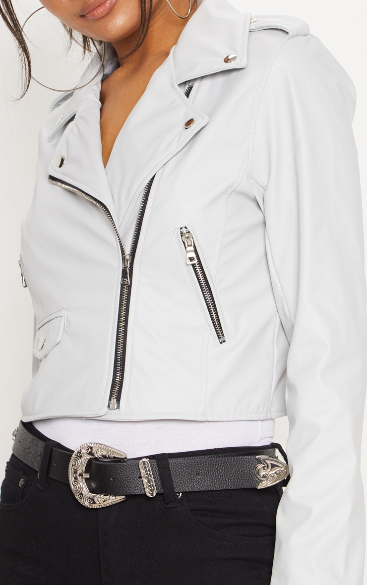 Grey  PU Biker Jacket With Zips 5