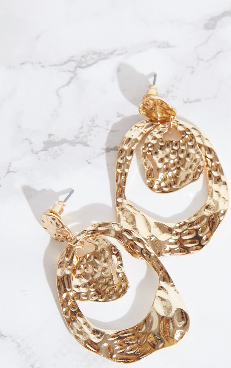 Gold Hammered Drop Earrings 4