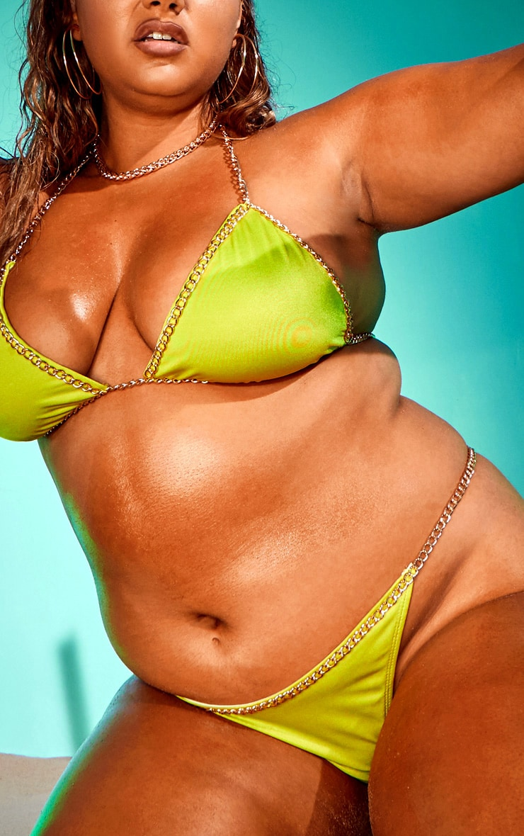 Plus Lime Chain Trim Triangle Bikini Top 4