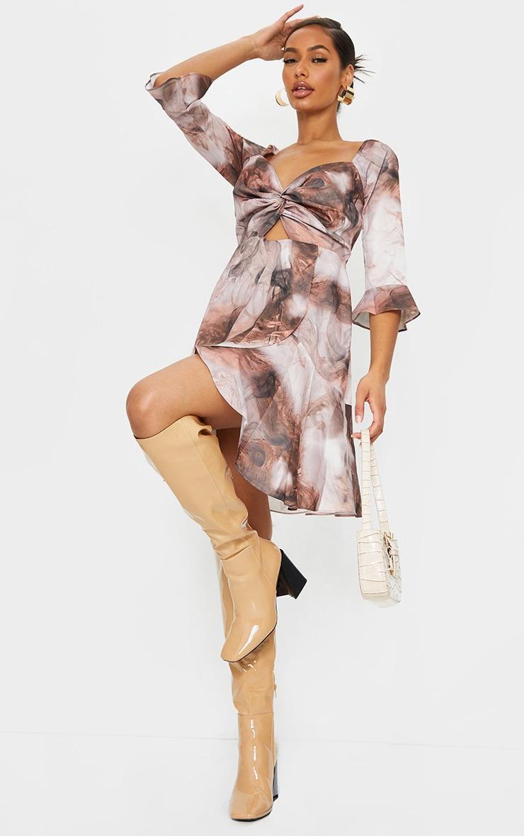 Nude Smoke Print V Neck Ruffle Detail Tea Dress 3