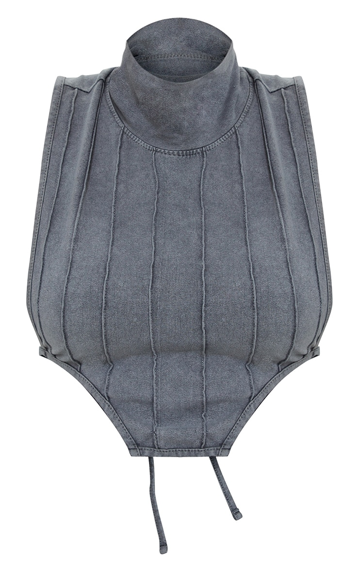 Charcoal Grey Acid Washed High Neck Tie Detail Sleeveless Top 5