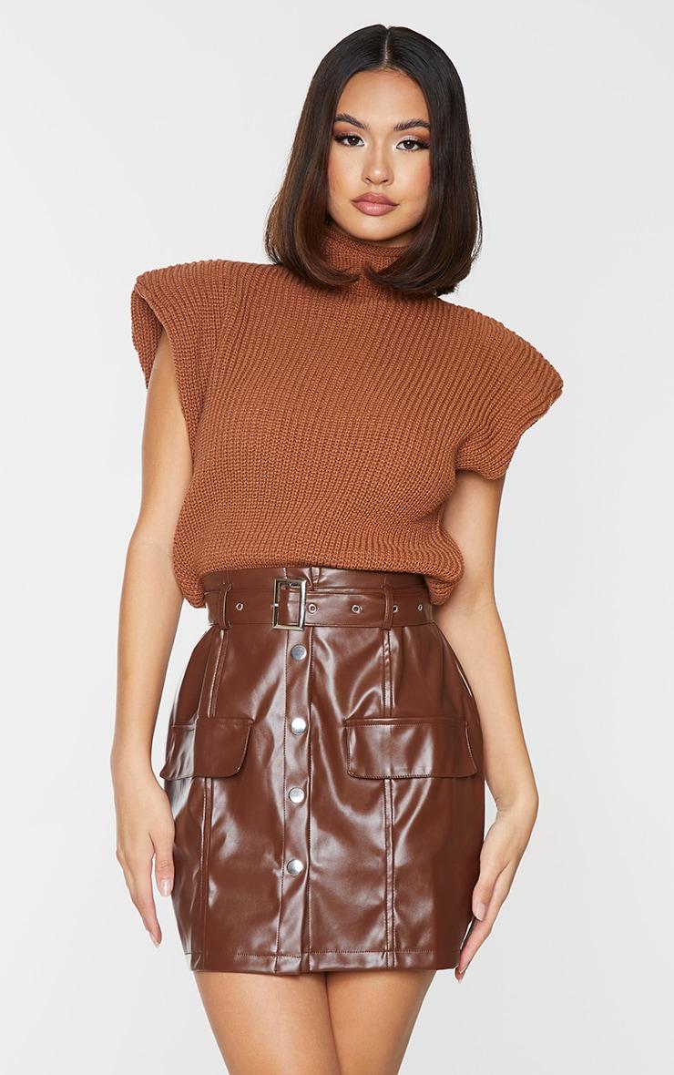 Chocolate Faux Leather Button Through Mini Skirt 4