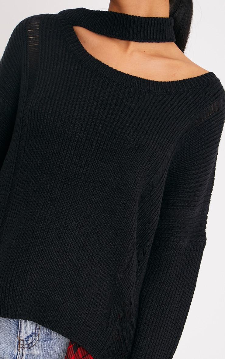 Varsha Black Distress Collar Detail Jumper 5