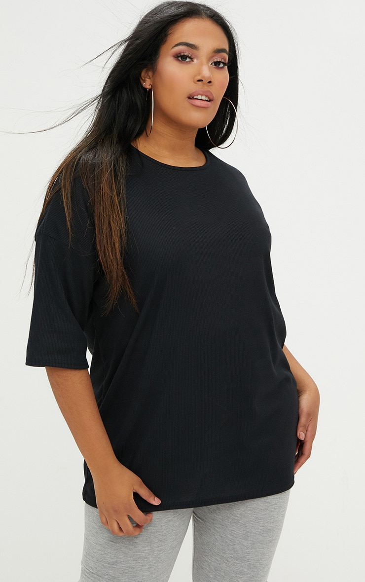 Plus Black Ribbed Oversized Tee 1