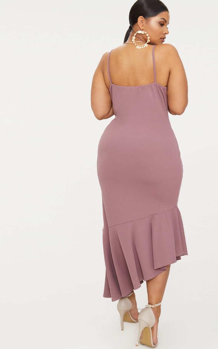 Plus Mauve Strappy Asymmetric Hem Midi Dress 2
