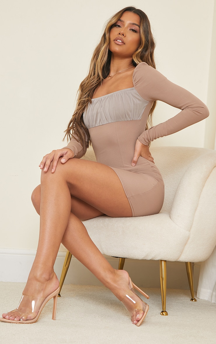 Taupe Ribbed Mesh Ruched Bust Panel Bodycon Dress 3