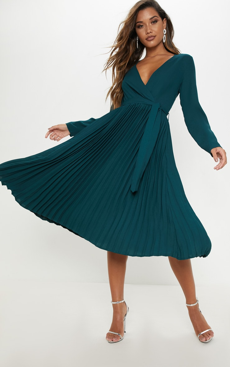 Emerald Green Long Sleeve Pleated Midi Dress 4