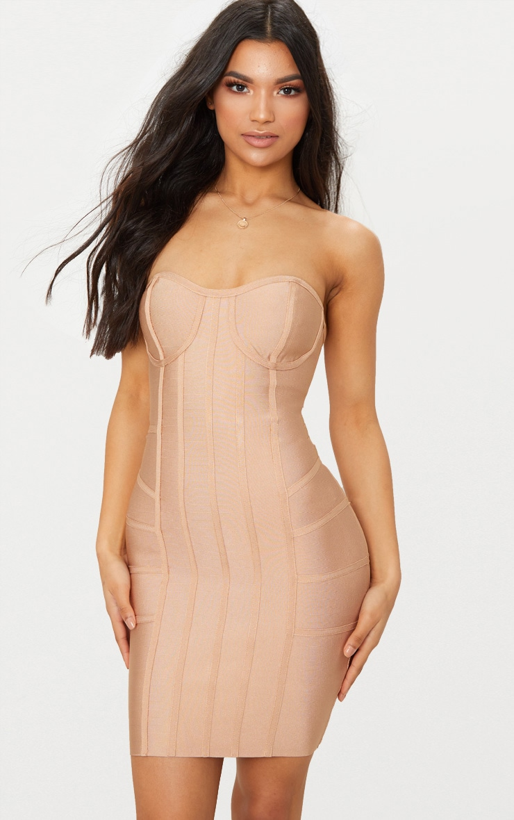 Cloe Camel Bandage Panel Bodycon Dress 1