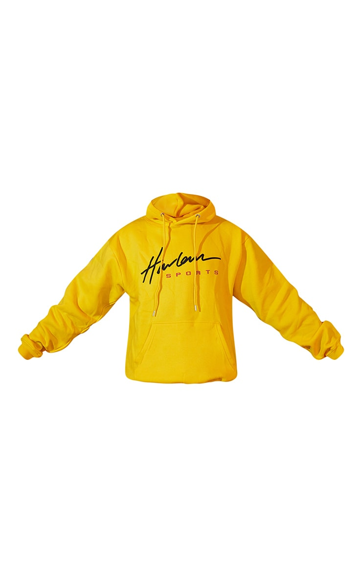 Yellow Unisex Printed Oversized Hoodie 6