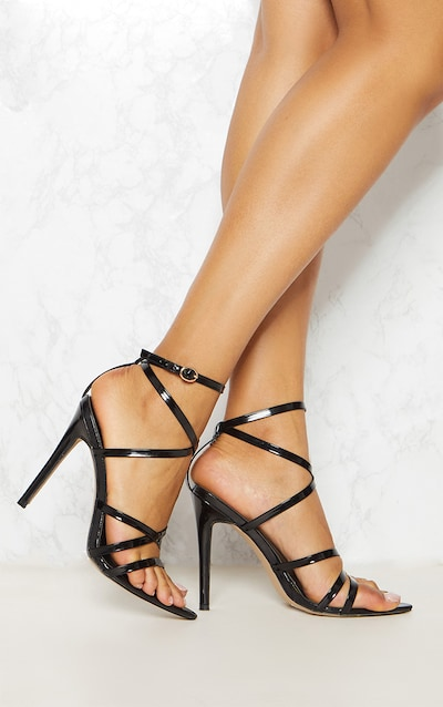 60c1222e87d Black Patent Strappy Point Toe Heels