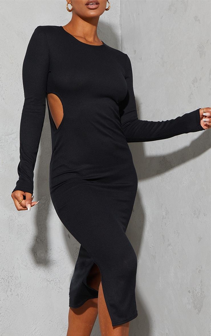 Black Rib Cut Out Side Long Sleeve Midaxi Dress 4